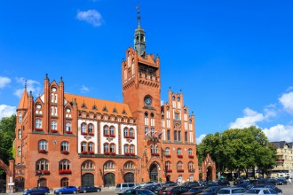 Neo-gothic Town Hall in Supsk, Poland