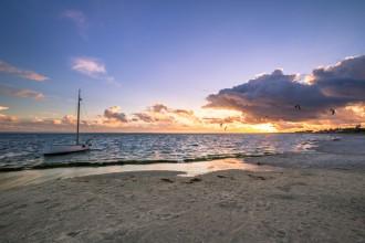 Zatoka Pucka, Morze Batyckie widok z Mierzei Helskiej, zmierzch