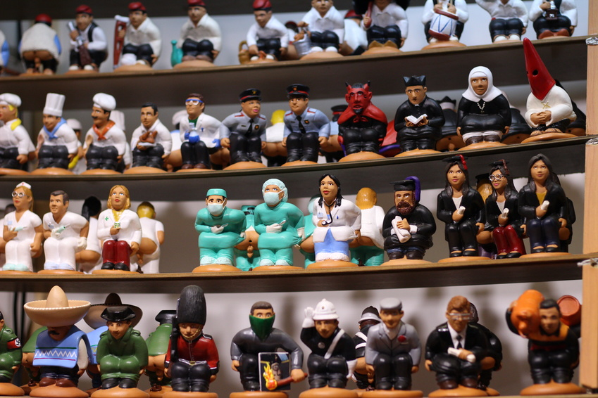 Caganers assortment. Christmas catalan ornamental tradition. Christmas store